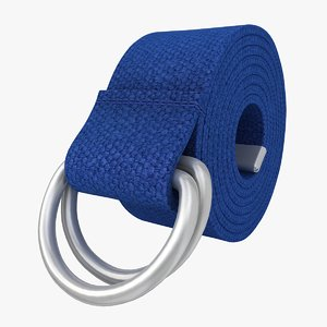 3d model realistic d-ring belt blue