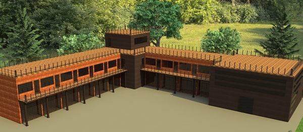 3d hi-tech complex modern building model