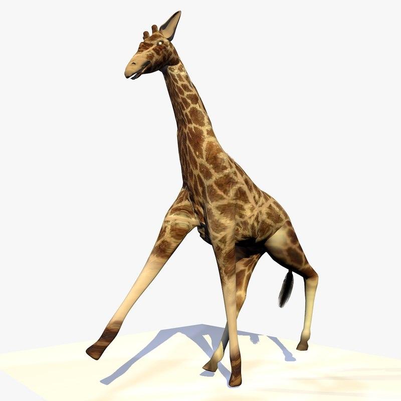 3d model giraffe running animation