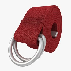 3d realistic d-ring belt red