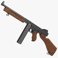submachine gun thompson m1a1 3d model