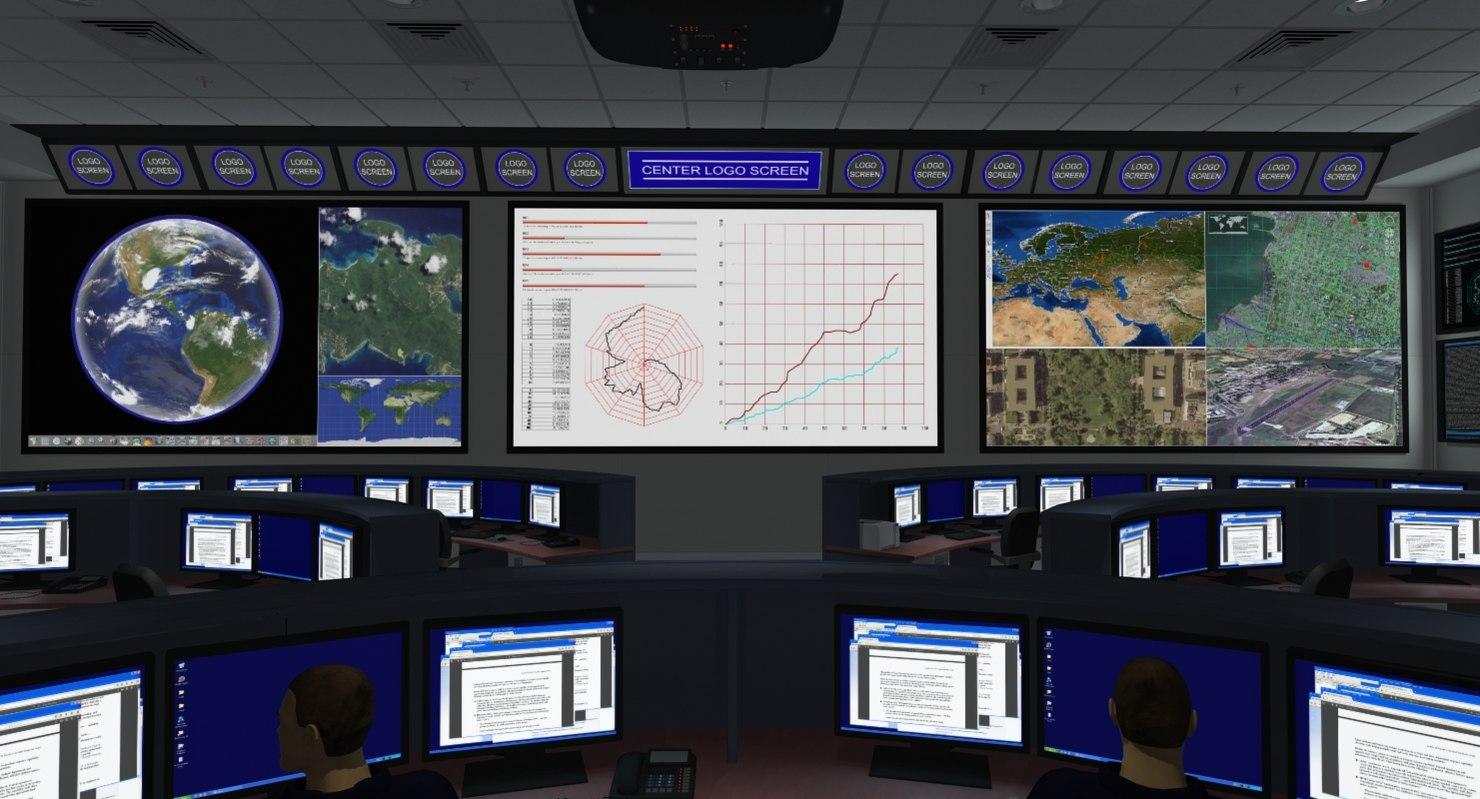 3d command center office room model