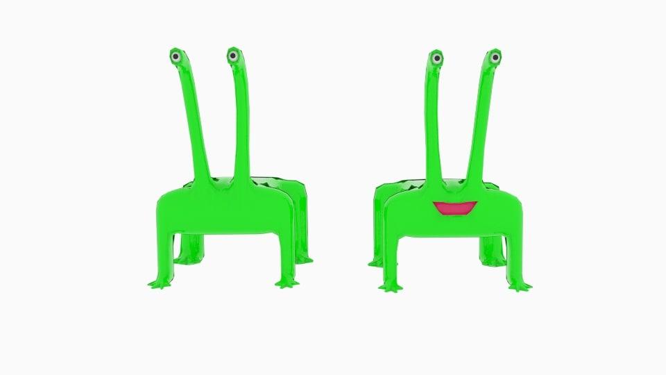 3ds long neck monster alien