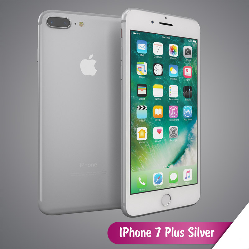 apple iphone 7 silver 3d model