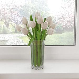 3d white tulips model