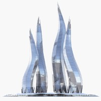 3d model of dubai towers - bay