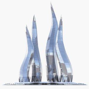 3d model of dubai towers - bay
