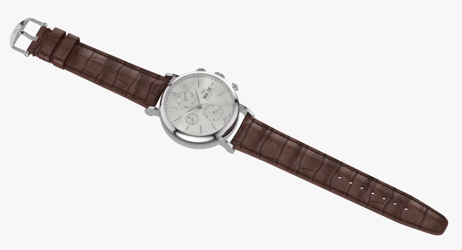 3d model realistic iwc portofino chronograph