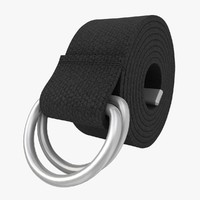 3d realistic d-ring belt black model