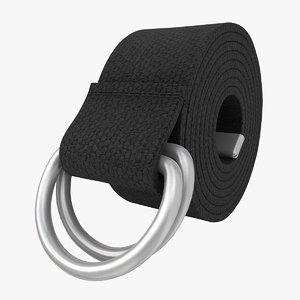3d realistic d-ring belt black model