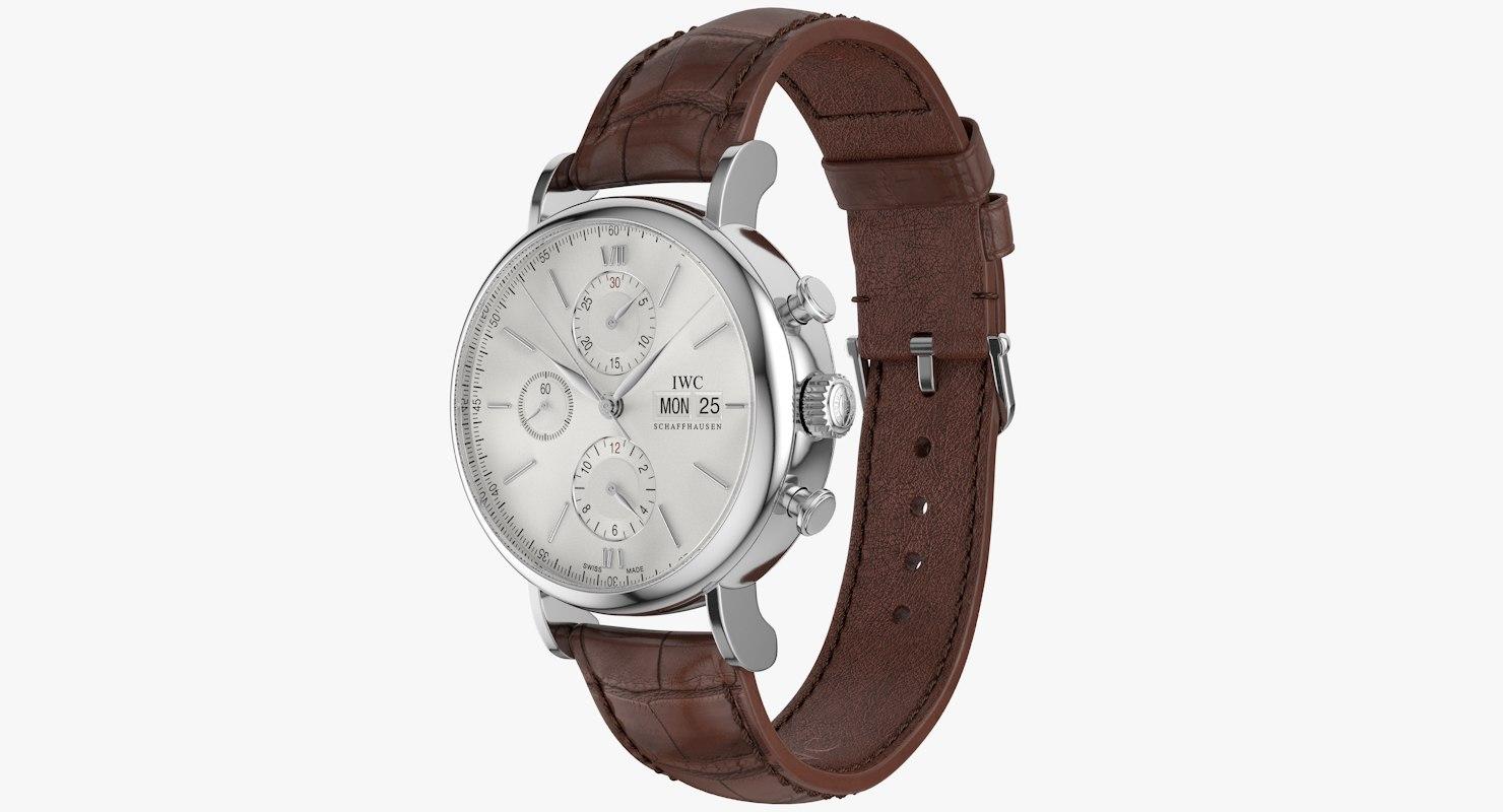 realistic iwc portofino chronograph 3d model