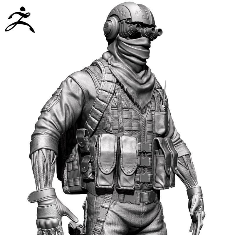 soldier zbrush ztl 3d 3ds