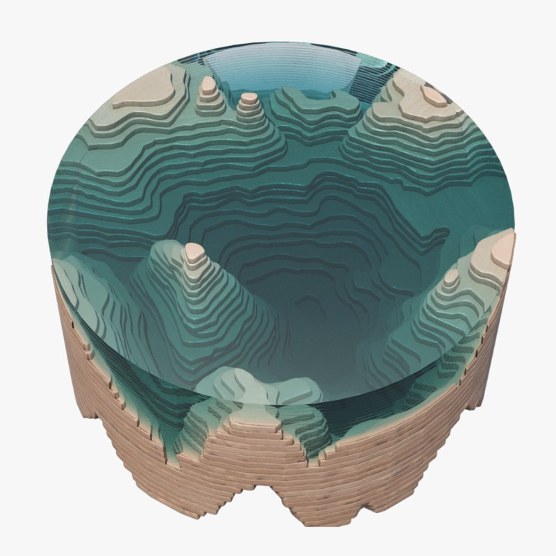 3d abyss table glass