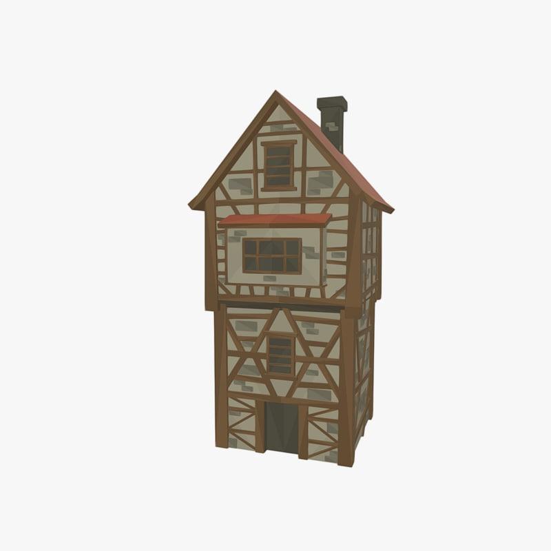 3ds medieval tudor house