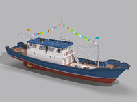 boat fishing 3d max
