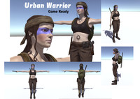 3d human urban warrior character woman model