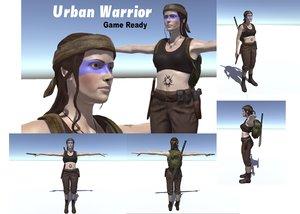 3d human urban warrior character woman model