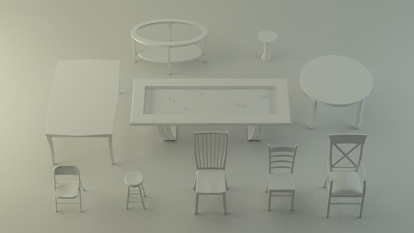 10x chair armchair table 3d model