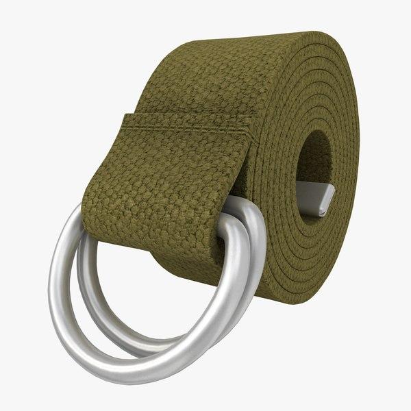 realistic d-ring belt khaki 3d 3ds