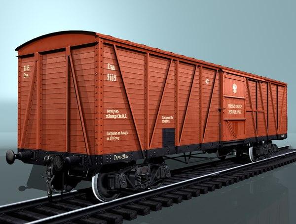cargo boxcar canadian type 3d obj