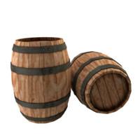 wood barrel 3d 3ds
