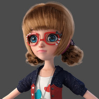 3d cartoon glasses girl