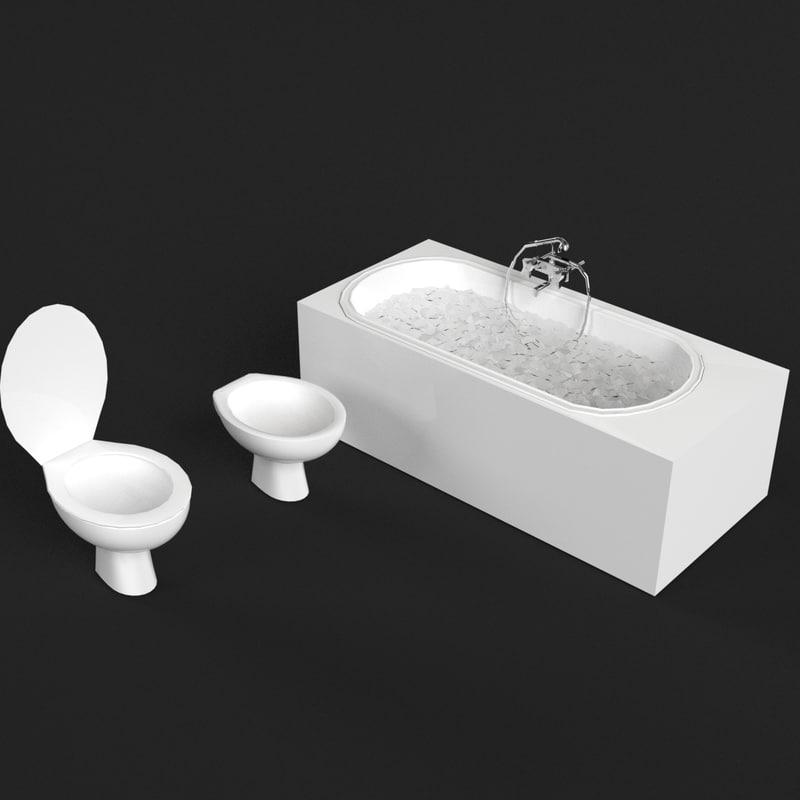 3d model of bathroom set