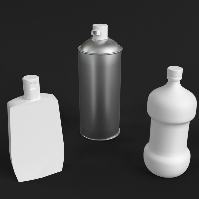 3ds bathroom bottles set