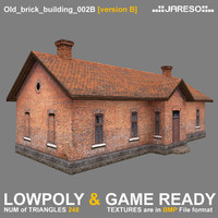 3d model low-polygonal brick building old
