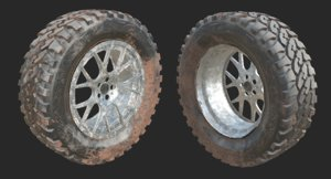 3d model off-road car wheel