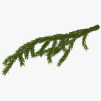3d christmas fir branch model