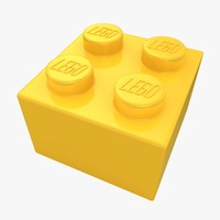 3d realistic lego brick 2x2 model