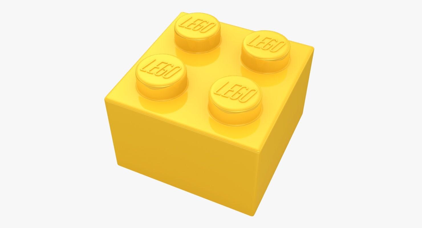 3d realistic lego brick 2x2 model