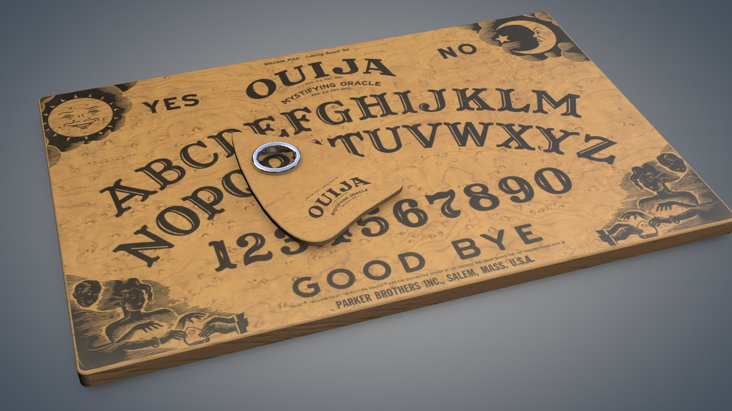 ouija boards A ouija board is the name generally used to refer to a device which is also known as a spirit board or a talking board it consists of a heart shaped pointer, called a planchette, and a flat board with the letters a to z, the numbers zero to nine and the word good-bye printed on it the word.