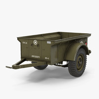 ww2 military jeep trailer 3d max