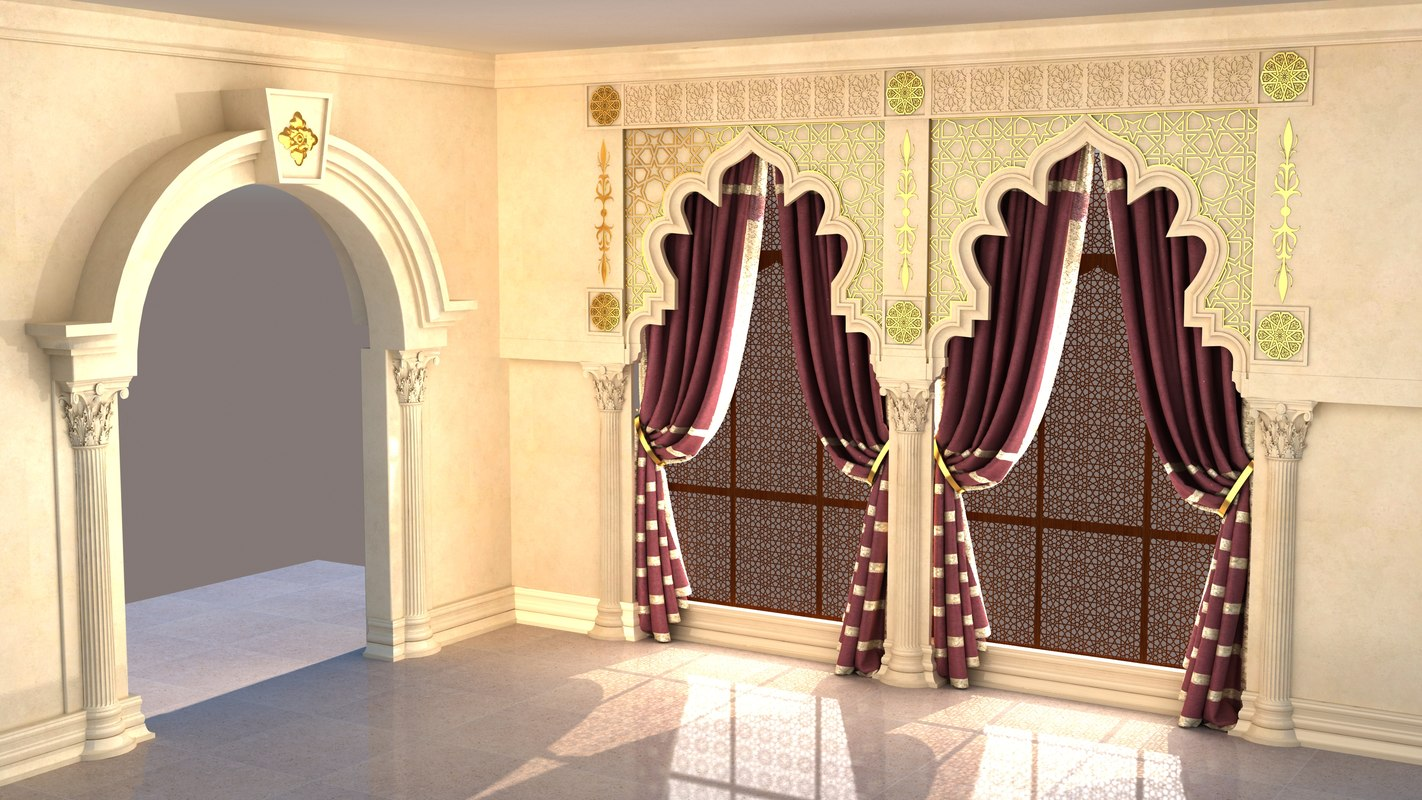 3d model oriental gate window