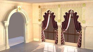 3d model oriental gate window