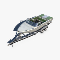 3d boat trailer motorboat model