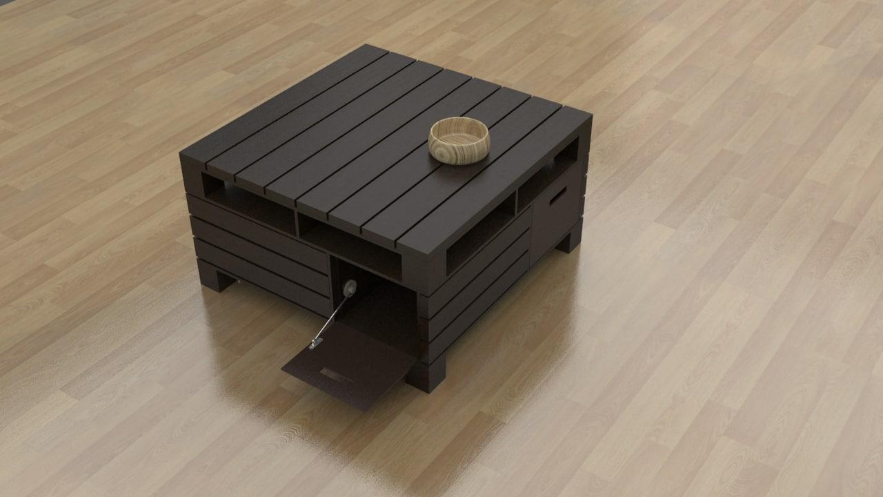 3d Pallet Coffee Table Model