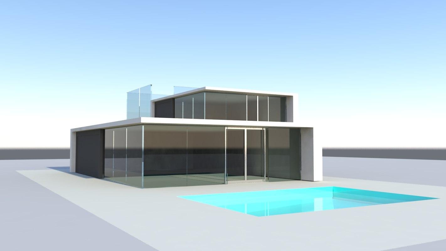 Modern villa pool 3d model for Model villa moderne