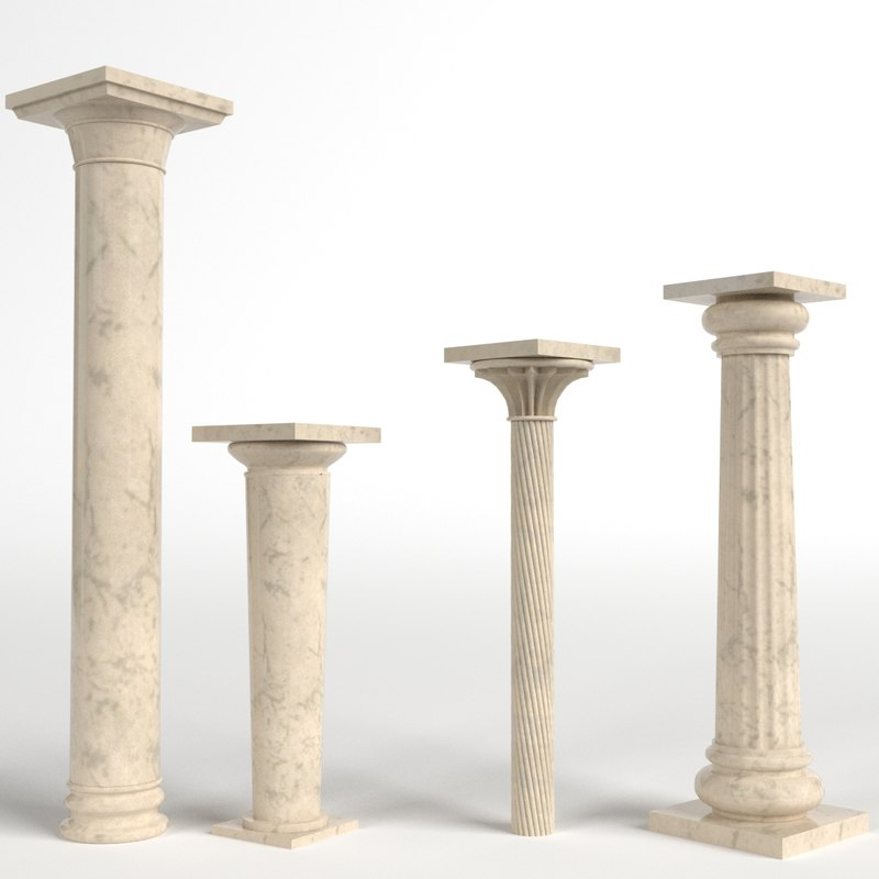columns simple capital fluted 3d model