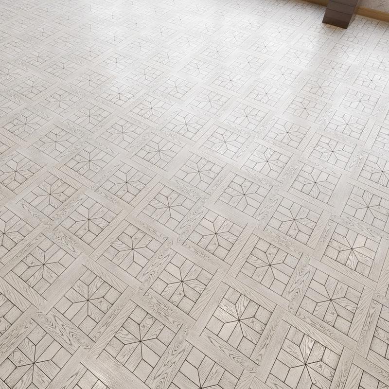 3d model modular parquet flooring oak