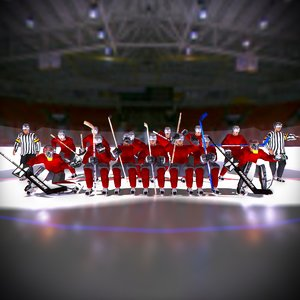 ice hockey team red 3d model