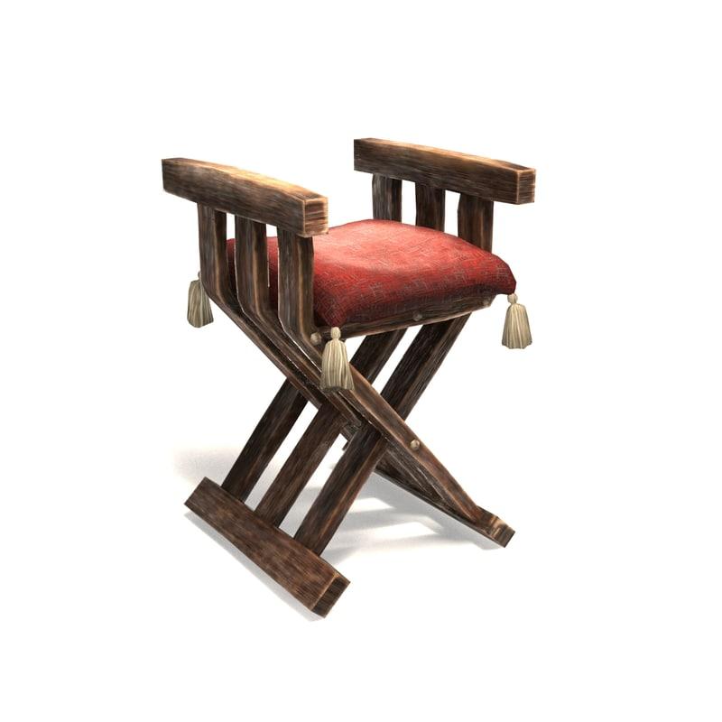 3d obj medieval chair
