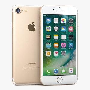 3d apple iphone 7 gold