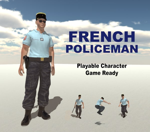 3d model french policeman man