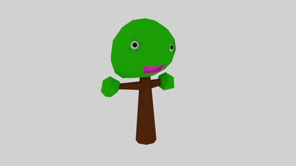 3d model cartoon tree character