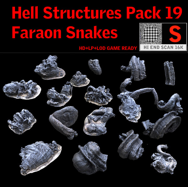 3d hell structures-faraon snakes model