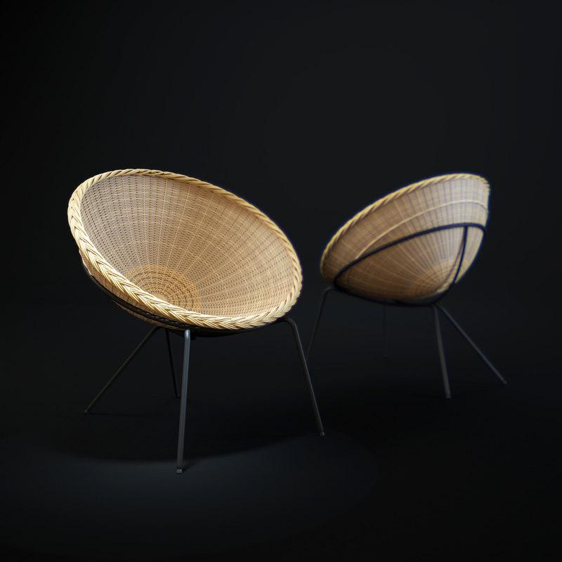round-wicker-chair 3d x