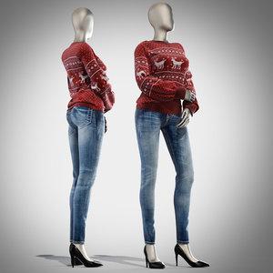 3d pullover mannequin female model